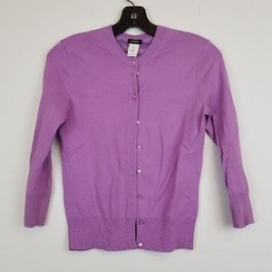 J.Crew purple button front 3/4 sleeve cardigan